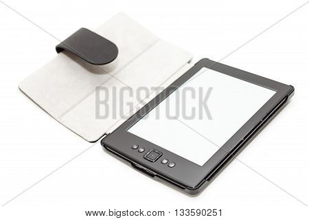 E-book reader with leather cover isolated on white.