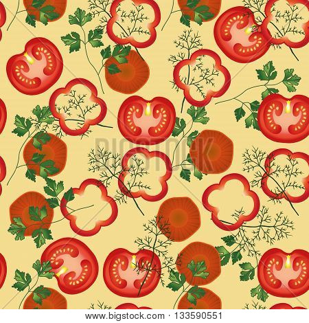 Tomato, parsley, carrot, fennel , pepper vector seamless pattern. Vegetable vegetarian template on the beige background. Vegetable mix slice, salad bar template. EPS 10