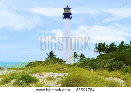 Cape Florida Lighthouse built in 1825 surrounded with Palm Trees on the beach taken in Key Biscayne, FL