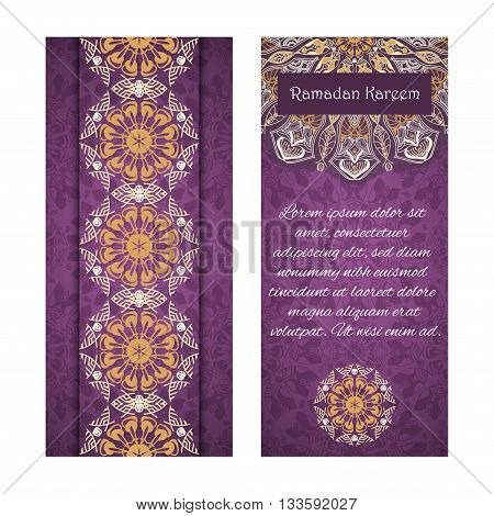 Vector set of banners to Ramadan. Greeting cards with text Ramadan Kareem and mandalas patterns