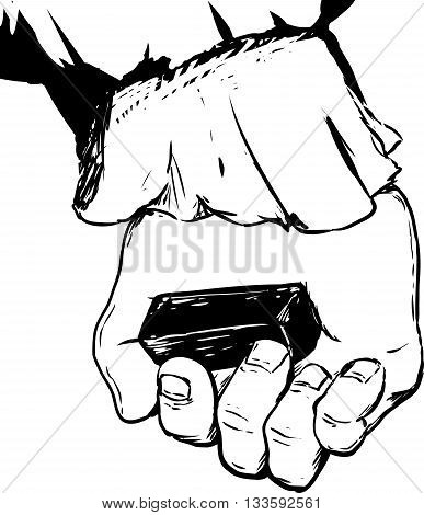 Outline Of Hand Holding Charcoal Block