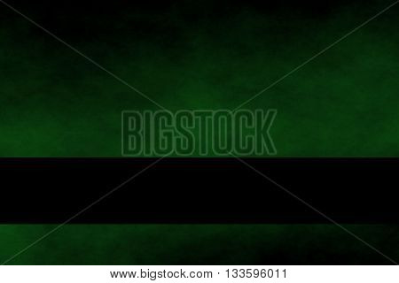 Dark green and black smoky background with black banner
