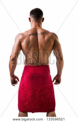 Hunk with towel around his neck back view on white background