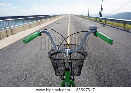 bicycle only handlebars stop at middle of road ready to move forward