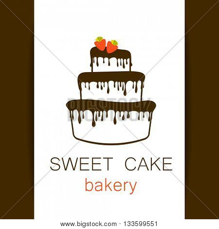 Sweet cake bakery shop logo template. logo cake. Logo for bakery. Logo design for confectionery, coffee shop, bakery shop. Vector illustration.