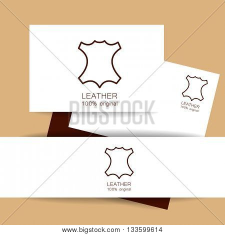 Leather logo. Identity presentation. Leather - 100% original. Template sign for the label, logo, advertising, products made of leather. Vector template.