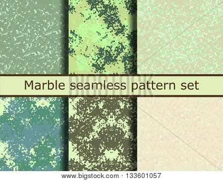 Grunge textures set. Green marble background Collection. Vector illustration. Grunge seamless pattern set. EPS 10