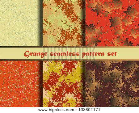 Grunge textures set. Orange background Collection. Vector illustration. Grunge seamless pattern set. EPS 10