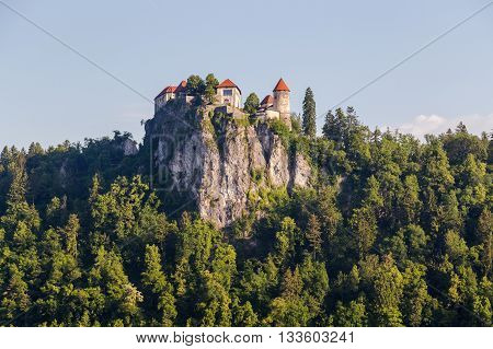 BLED SLOVENIA - 28TH MAY 2016: A view towards Bled Castle in Slovenia in the morning.
