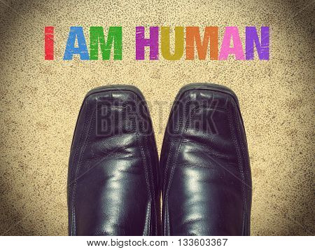Black men shoes shoes with words I am human
