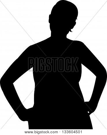 a woman body black color silhouette vector