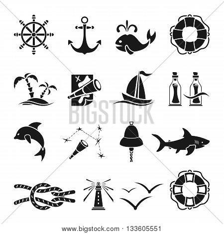 Set of black marine icons isolated on white background, nautical theme, illustration