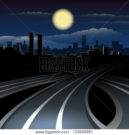 Modern cityscape in midnight. City roads against town and fullmoon sky.