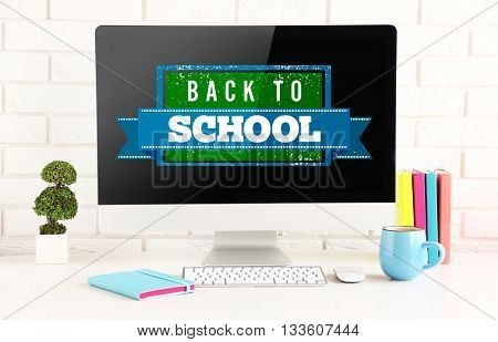 Back to school message on screen of computer