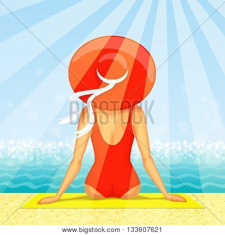 Slender woman dressed in red swimsuit with big hat at her head is sitting on the beach with seascape ahead in sunbeams. Back view