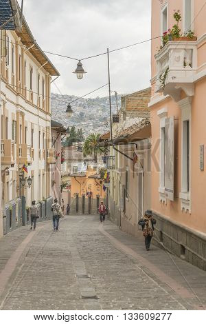 QUITO, ECUADOR, circa OCTOBER - 2015 - La ronda a famous touristic location with bars and nightlife located at the historic center of Quito Ecuador