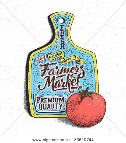 Farmers market lettering on cutting board. Retro vintage motivational quote poster with hand lettering and typography. Fresh and natural products retail advertising banner. Vector illustration