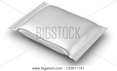 Flexible consumer packaging. Sealed package from a polymeric film. Model of consumer packaging. Isolated. 3D Illustration