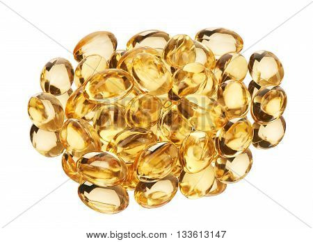 Soft Gel Capsules With Oil Supplements Isolated On White