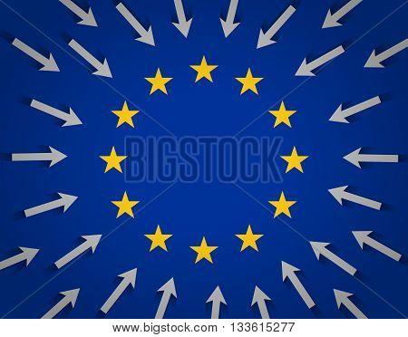 European Union flag and lots of arrows pointing to the center towards golden stars. Desire of migrants to reach the territory of the European Union. Migration situation in Europe