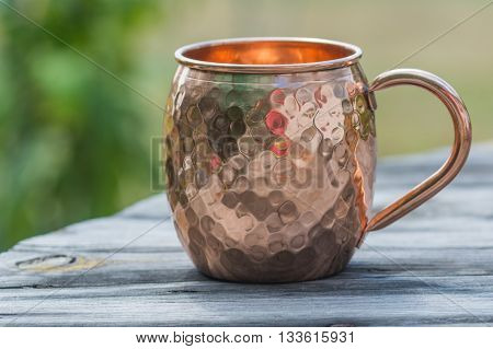 Hammered copper mug used for moscow mule drinks