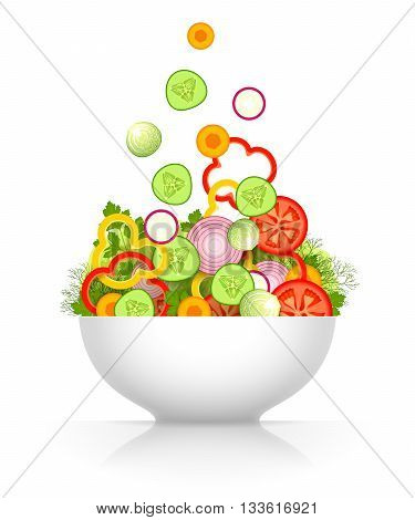 Sliced fresh vegetables are falling in large white bowl isolated on white background. Vegetable mix for salad. Raw food diet and vegetarian food concept
