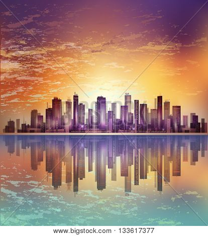Urban Night City Landscape In Moonlight Or Sunset, With Reflection In Water And Cloudy Sky