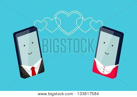 Man's phone and woman's phone with smiling faces are looking to each other and heart-shaped waves is spreading to each other. Conversation of enamored persons. Heterosexual couple