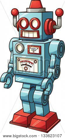 Retro toy robot. Vector clip art illustration with simple gradients. All in a single layer.