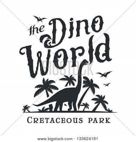 Dino world logo template. Dinosaur park logotype. Diplodoc t-shirt vector design. Jurassic period retro illustration. Lost world insignia concept. Adventure badge.