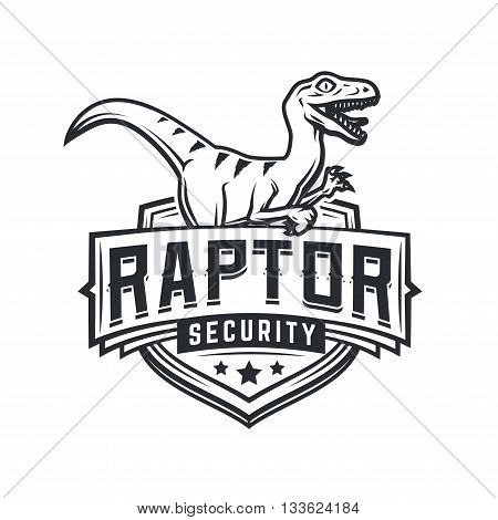 Raptor sport logo mascot design. Vintage college team coat of arms. Military Dino vector logotype template. Airsoft squad t-shirt illustration concept.