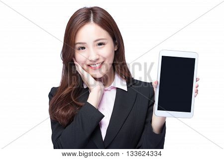 Young Business woman smile show digital tablet pc isolated on white background model is a asian beauty