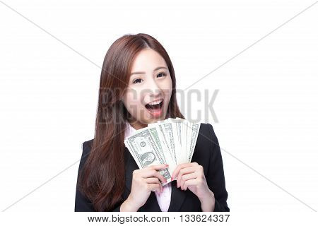 business woman smile happy with handful of money isolated on white background asian beauty model