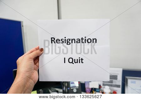 Holding a word Resignation I quit with human left hand
