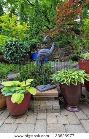 Garden Backyard Japanese Asian Theme Design Landscaping with Plants Crane Sculpture and Stone Lantern