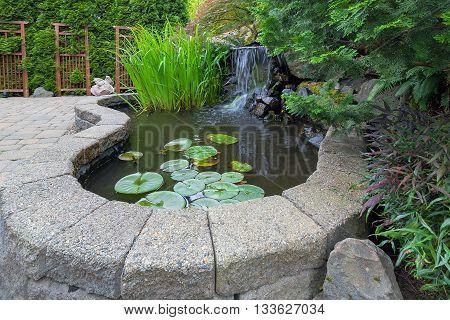 Garden Backyard pond with waterfall water plants brick paver patio trellis landscaping