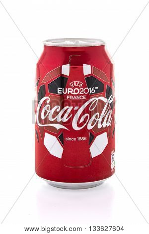 SWINDON UK - JUNE 9 2016: Can of Coca-Cola made for the 2016 Euro Football tournament in France on a white background