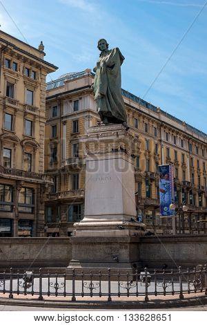 Milan Italy - May 25 2016: Giuseppe Parini statue in Milan Dante street. Giuseppe Parini - Italian poet representative of the Italian Enlightenment classicism.