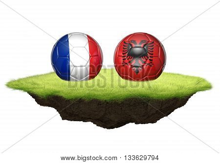 France and Albania team balls for football championship tournament, 3D rendering