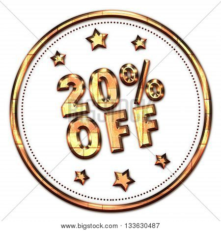 20% off gold word on white background