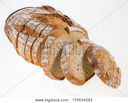 Slices of Rye bread loaf on a white background.