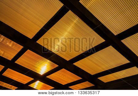 The roof of the veranda of orange polycarbonate