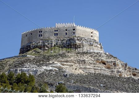 Castle of Curiel de Duero fortified building located on a rocky hill in the province of Valladolid Castile and Leon Spain.