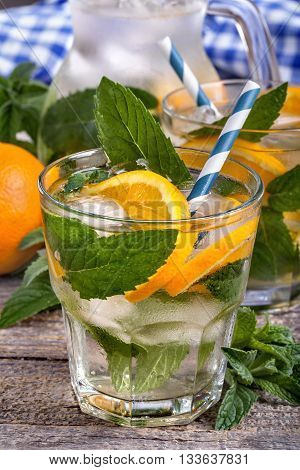 Ice water with mint leaves and orange. Antioxidant refreshing drink