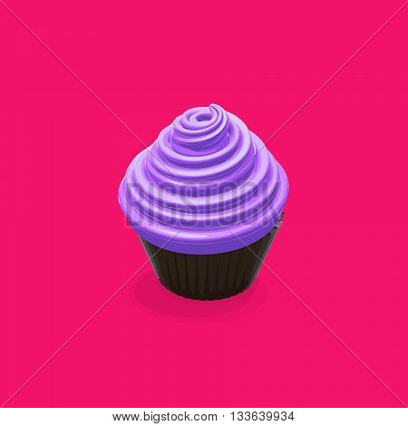 Vector Cupcake. Vector Food Illustration Of Cupcake. Sweet Birthday Cupcake Illustration. Cupcake or Muffin Food Illustration
