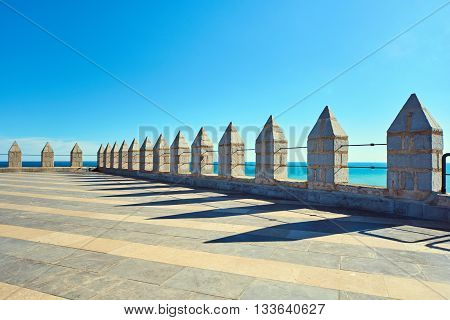 Roof of a Peniscola castle the highest point of the city. Costa del Azahar Spain