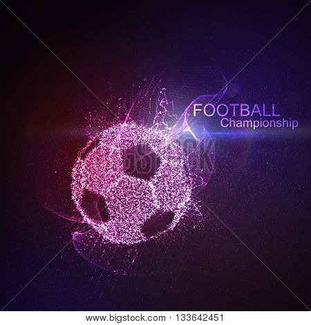 Football or Soccer abstract illuminated ball. Vector sport illustration of flying abstract Soccer Ball made of glowing particles. Abstract 3D neon Soccer ball sign