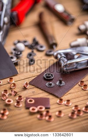 Eyelet and rivet setting punch tools, studio shot