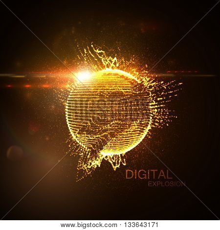 3D illuminated distorted sphere of glowing particles, wireframe and flare lens light effect. Futuristic vector illustration. HUD element. Technology digital splash or explosion concept