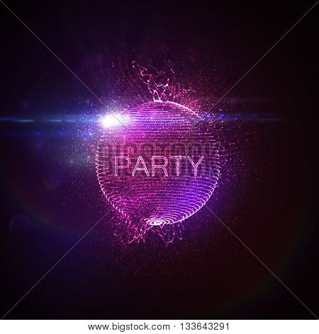Party neon sign. 3D illuminated distorted sphere of glowing particles, wireframe, splashes and lens flare light effect. Music party. Vector illustration. Disco ball.
